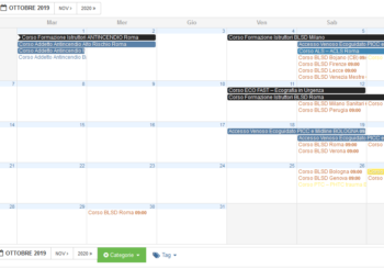 Calendario Corsi BLSD settembre-ottobre 2019